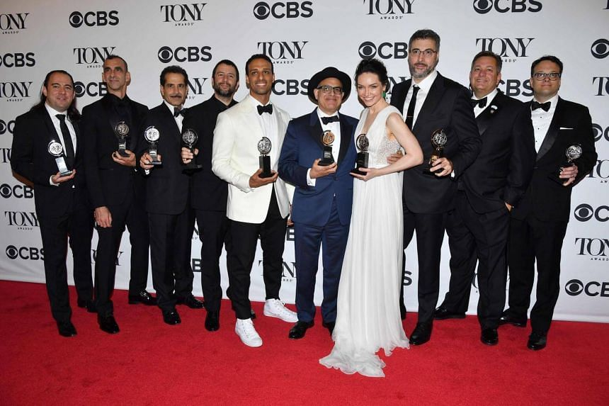 The cast and creative team of The Band's Visit pose in the 72nd Annual Tony Awards Media Room at 3 West Club in New York City, on June 10, 2018.