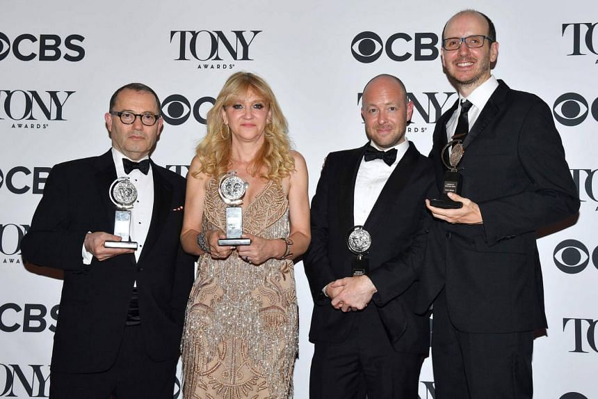 Producers Colin Callender, Sonia Friedman, John Tiffany and Jack Thorne, winners of the award Best Play for Harry Potter And The Cursed Child, Parts One And Two.