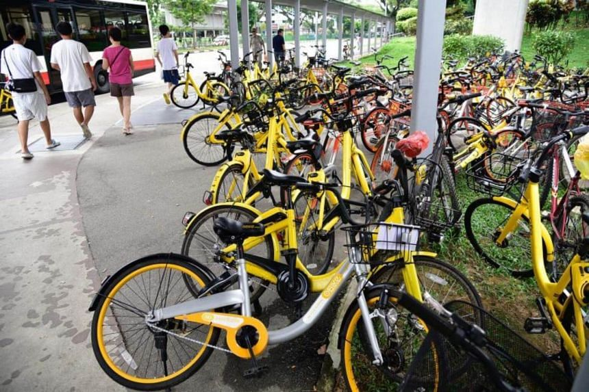 File photo showing shared bicycles left indiscriminately near Yishun MRT station. Mobike, ofo and SG Bike, are keen to continue operations in Singapore.
