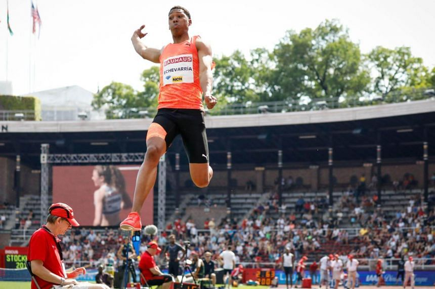 Cuba's Juan Miguel Echevarria (pictured) finished first ahead of American Jeff Henderson (8.39m) and South Africa's world champion Luvo Manyonga (8.25m).