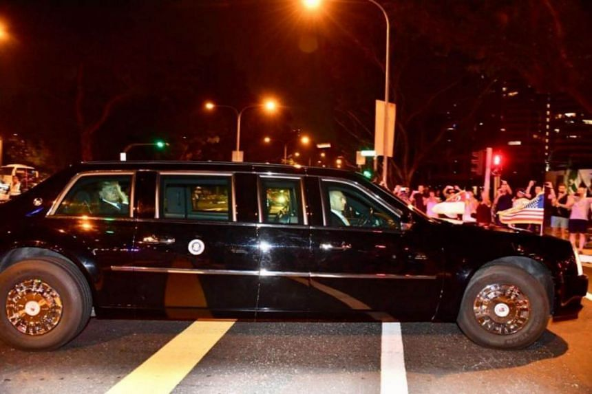 US President Donald Trump's motorcade passed along Anderson Road en route to the Shangri-La Hotel.