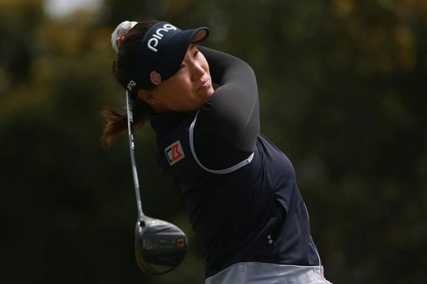 Annie Park watches her tee shot on the second hole during the third round of the Mediheal Championship at Lake Merced Golf Club on April 28, 2018 in Daly City, California.