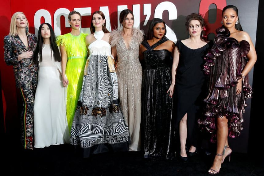 Cast members (from left) Cate Blanchett, Awkwafina, Sarah Paulson, Anne Hathaway, Sandra Bullock, Mindy Kaling, Helena Bonham Carter and Rihanna pose at the world premiere of the film Ocean's 8 at Alice Tully Hall in New York City, New York, US, on J