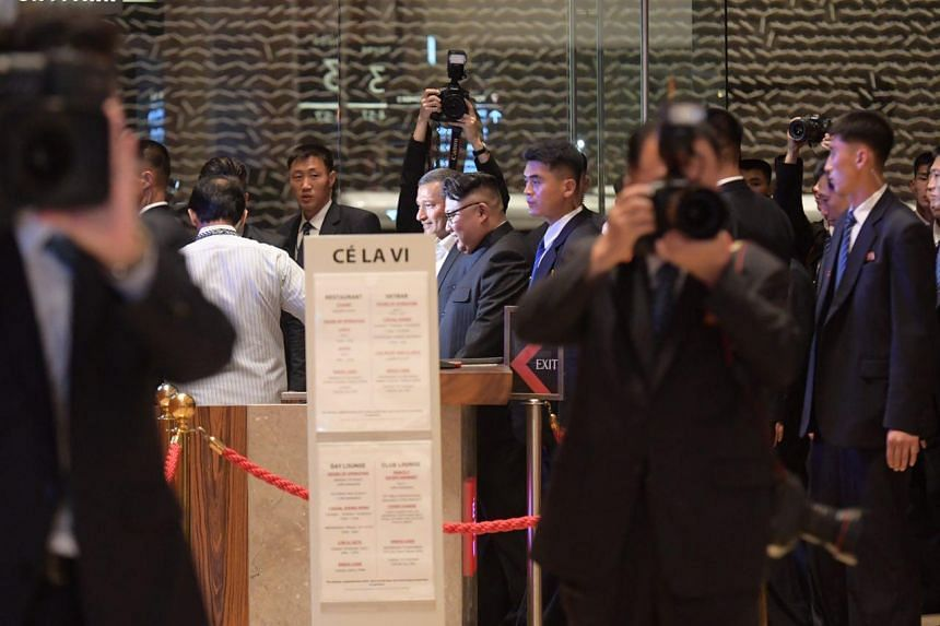Foreign Minister Vivian Balakrishnan and North Korean leader Kim Jong Un at Marina Bay Sands on June 11, 2018.