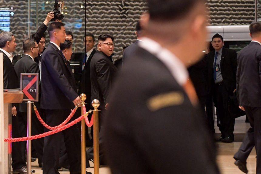 North Korean leader Kim Jong Un visiting Marina Bay Sands on June 11, 2018.