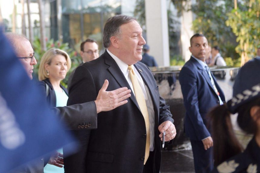 US Secretary of State Mike Pompeo leaving the JW Marriott Hotel Singapore South Beach, where he held a news briefing, on June 11, 2018.