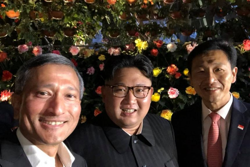 Foreign Minister Vivian Balakrishnan (left) posted a wefie taken with North Korean leader Kim Jong Un and Education Minister Ong Ye Kung on his Facebook page on June 11, 2018.