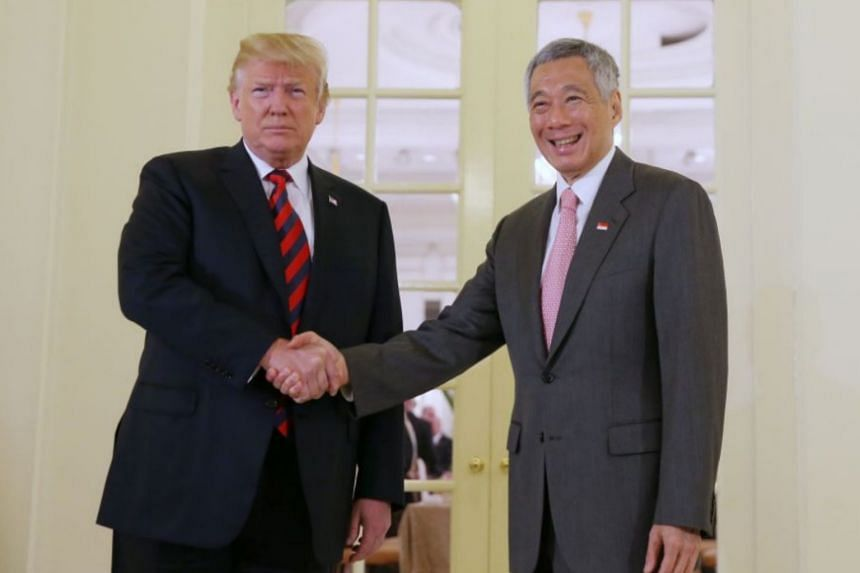 Prime Minister Lee Hsien Loong and US President Donald Trump at the Istana on June 11, 2018, ahead of the Trump-Kim summit.