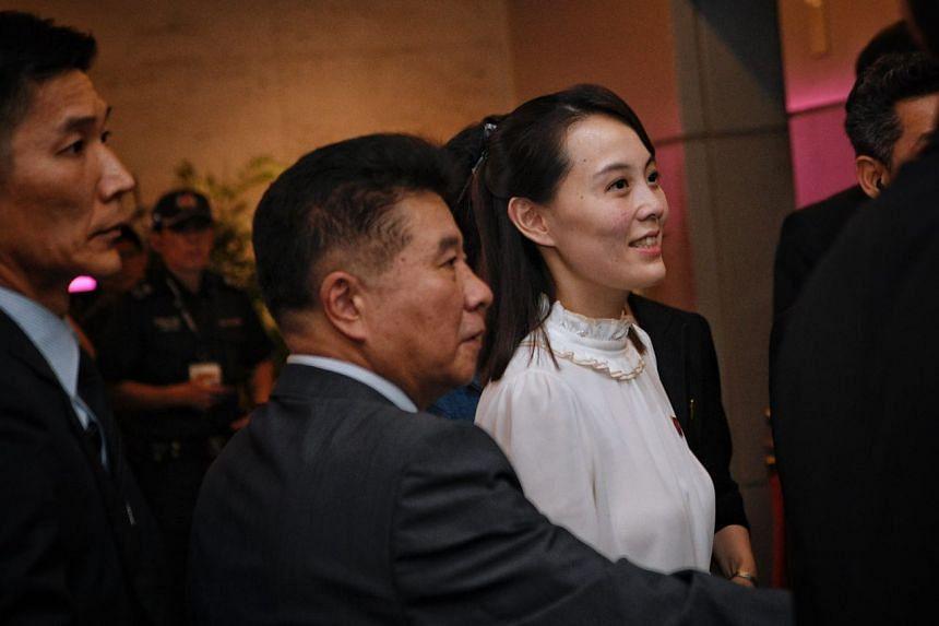 Kim Yo Jong, sister of North Korea's leader Kim Jong Un, enters a lift at the Marina Bay Sands sky park, on June 11, 2018.