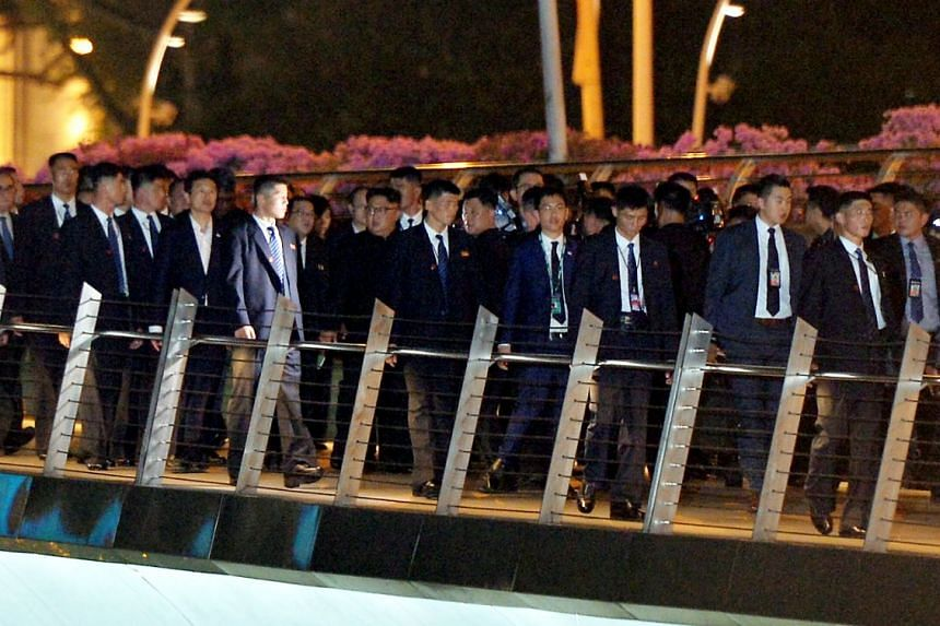 North Korean leader Kim Jong Un and his entourage in Singapore on June 11, 2018.