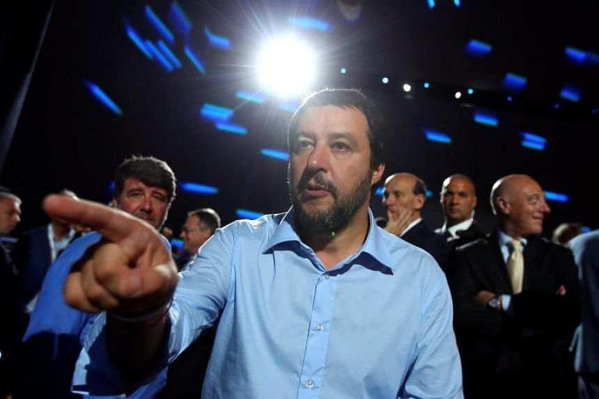 Interior Minister Matteo Salvini gestures as he arrives at the Italian Business Association Confcommercio meeting in Rome, Italy, on June 7, 2018.