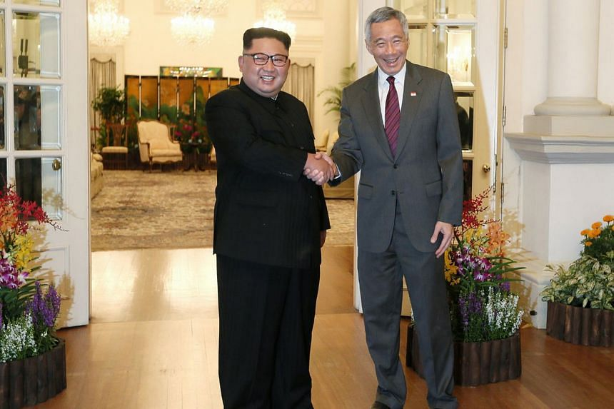 6.34pm:Prime Minister Lee Hsien Loong met North Korean leader Kim Jong Un at the Istana yesterday evening, with Mr Kim expressing gratitude for Singapore's efforts to host the meeting.