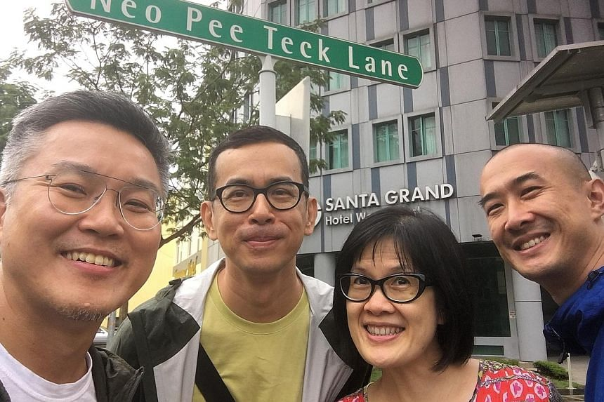 My Grandfather's Road is produced by Neo Kim Seng (above, left) and features (from second left) Tan Cher Kian, Karen Tan and Gary Tang.