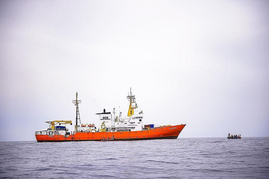 The Aquarius in a file photo. The rescue ship picked up 629 migrants from boats and rafts off the coast of Libya at the weekend.