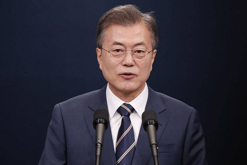"""South Korean President Moon Jae In said his people were praying for US President Donald Trump to """"create a miraculous result"""" today."""