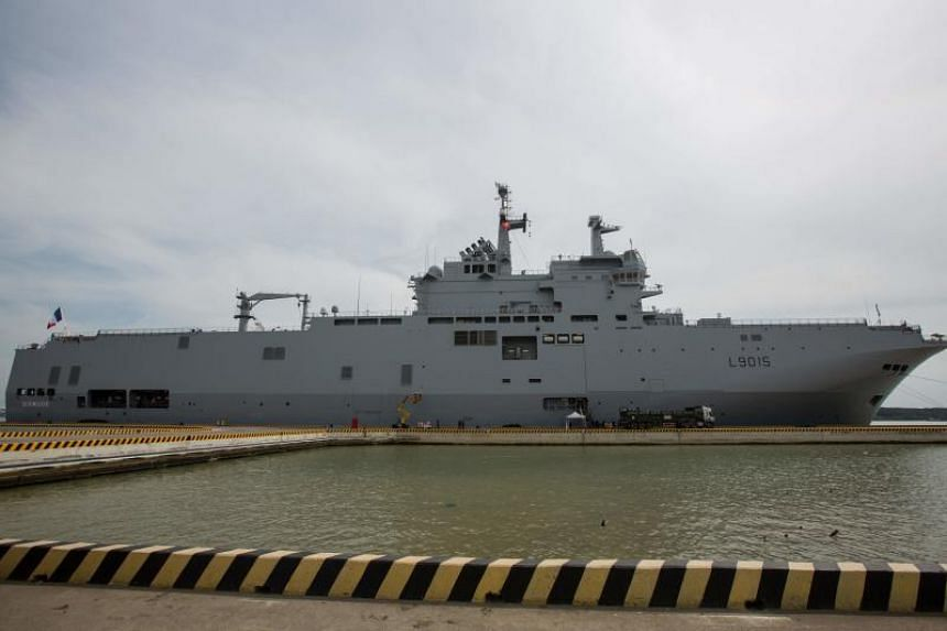 French navy ship Dixmude anchored at a dock in Ho Chi Minh City, on June 1, 2018.