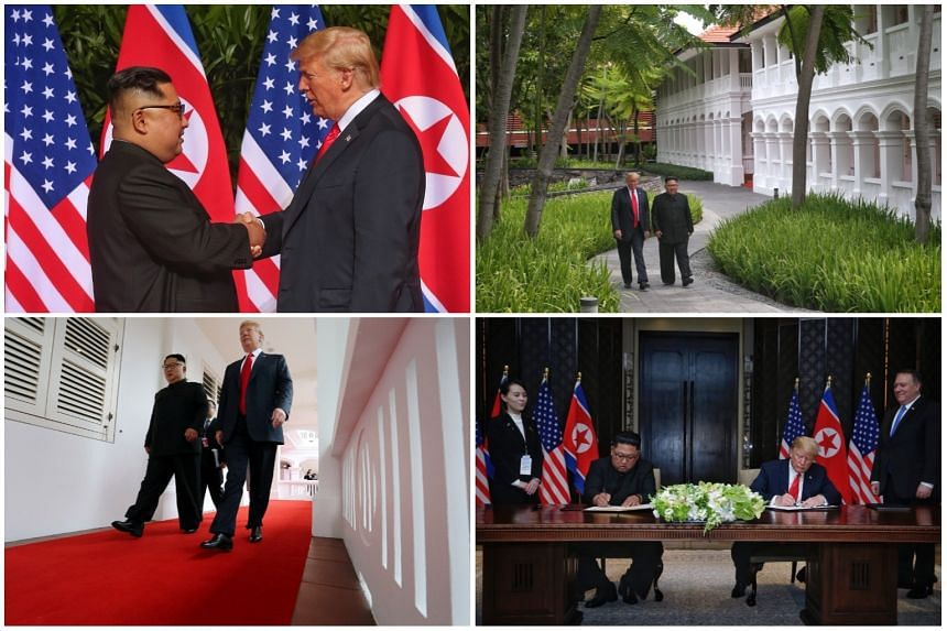 The summit between US President Donald Trump and North Korean leader Kim Jong Un in Singapore on June 12, 2018, marked their first meeting.