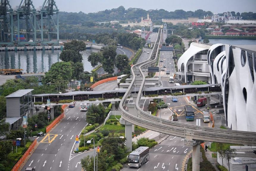 A view of Sentosa Gateway seen from Propeller Rooftop Bar at Bay Hotel Singapore on June 12 at 7.30am.