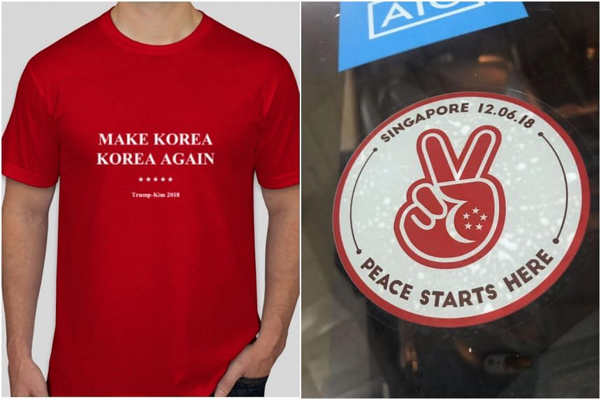 A T-shirt and a car decal designed to mark the historic summit between United States President Donald Trump and North Korean leader Kim Jong Un