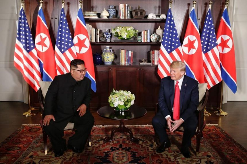 North Korean leader Kim Jong Un speaking to US President Donald Trump at the Capella Singapore, ahead of bilateral talks between the two leaders.