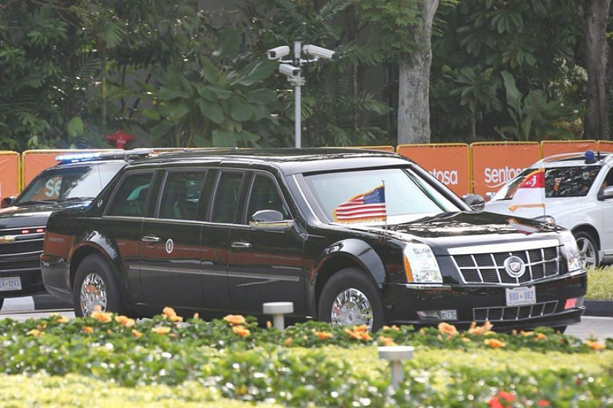US President Donald Trump's motorcade leaving Capella Singapore after his press conference on June 12, 2018.