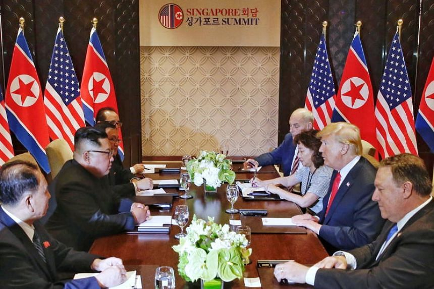 Interpreter Lee Yun Hyang sitting next to US President Donald Trump during the summit meeting with Kim Jong Un.