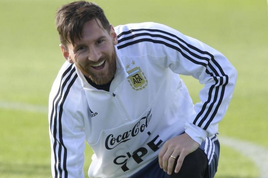 Argentina's forward Lionel Messi takes part in a training session in Bronnitsy, Russia, ahead of the Russia 2018 World Cup football tournament.