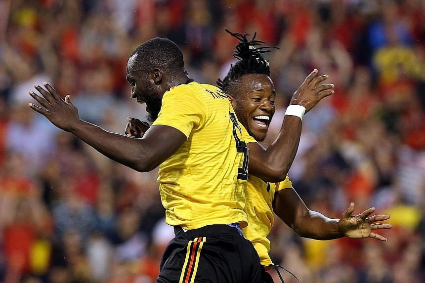 Belgium's Michy Batshuayi (right) celebrates scoring their fourth goal with Romelu Lukaku, who earlier scored a brace himself. The Belgian attack flourished in a 4-1 friendly win over Costa Rica.