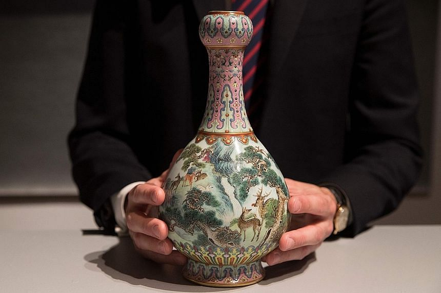 This 18th-century Chinese vase sold for $25.5 million at Sotheby's in Paris yesterday.