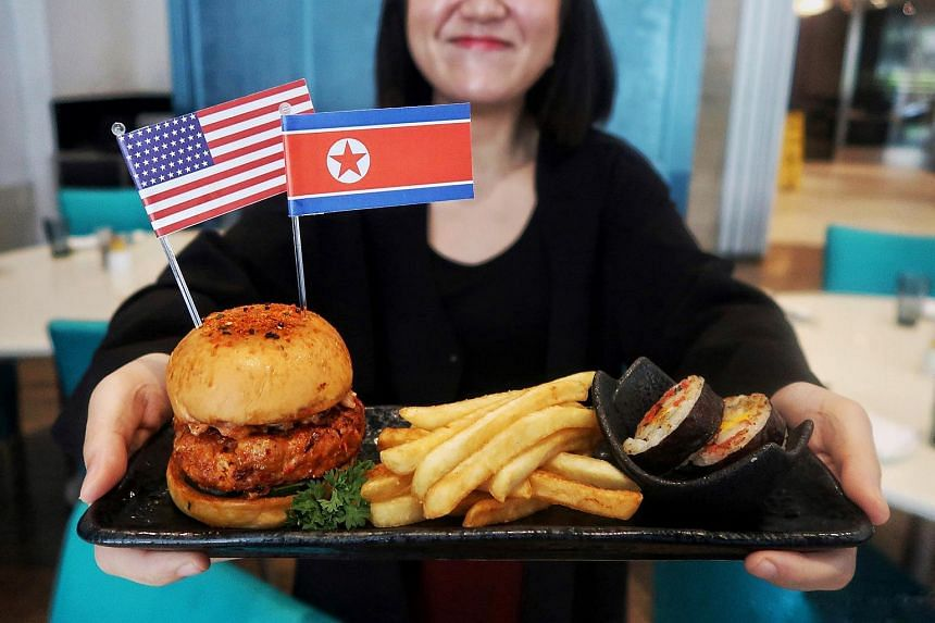 A Trump-Kim burger offered by Royal Plaza on Scotts Singapore.