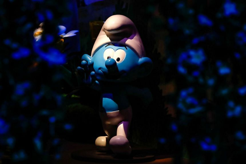A Smurf character at the Smurf Experience exhibition, marking the 60th anniversary of the creation of the Smurfs, in Brussels, Belgium, on June 12, 2018.