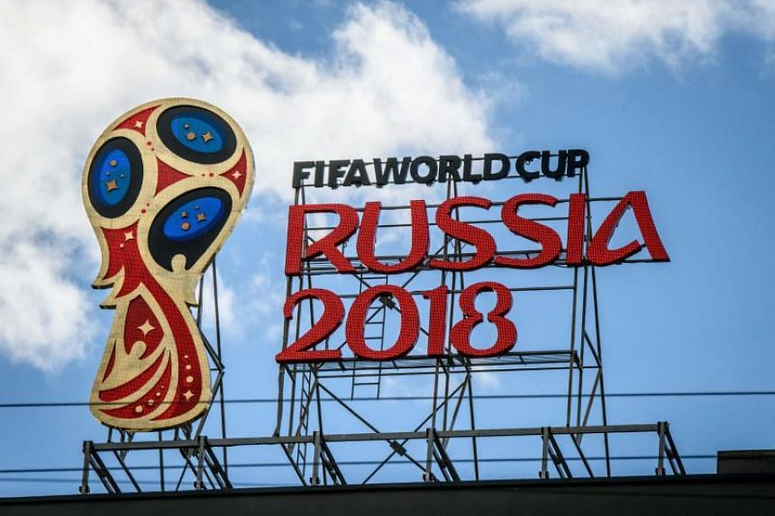 The 2018 Fifa World Cup logo on top of a building in Moscow.