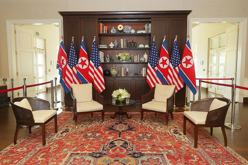 From top: The library where Mr Donald Trump and Mr Kim Jong Un met one-on-one; the dining room where the US and North Korean delegations had lunch; the courtyard where the two leaders shook hands; and the dining room of Cassia restaurant where they s