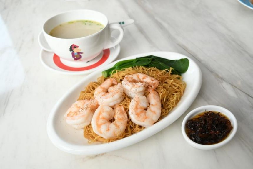 King prawns in XO sauce with tossed noodles ($11).