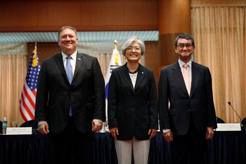 (From left) US Secretary of State Mike Pompeo, South Korean Foreign Minister Kang Kyung Wha and Japan Foreign Minister Taro Kono during a trilateral meeting at the Foreign Ministry in Seoul, South Korea, on June 14, 2018.
