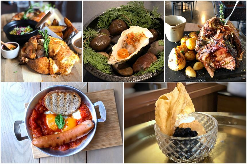 (Clockwise from top left) Dishes from Birds Rotisserie, Prelude Restaurant & Bar, Blunos, Onedee Cafe and Common Room X Ari.
