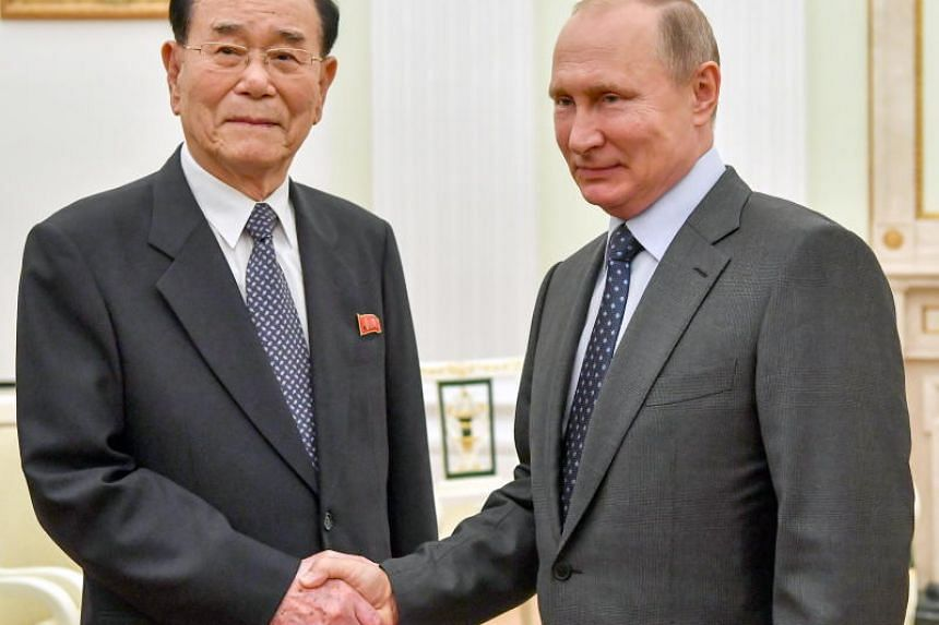 Russian President Vladimir Putin (right) with President of the North Korean Presidium of the Supreme People's Assembly Kim Yong Nam during their meeting at the Kremlin in Moscow, Russia, on June 14, 2018.