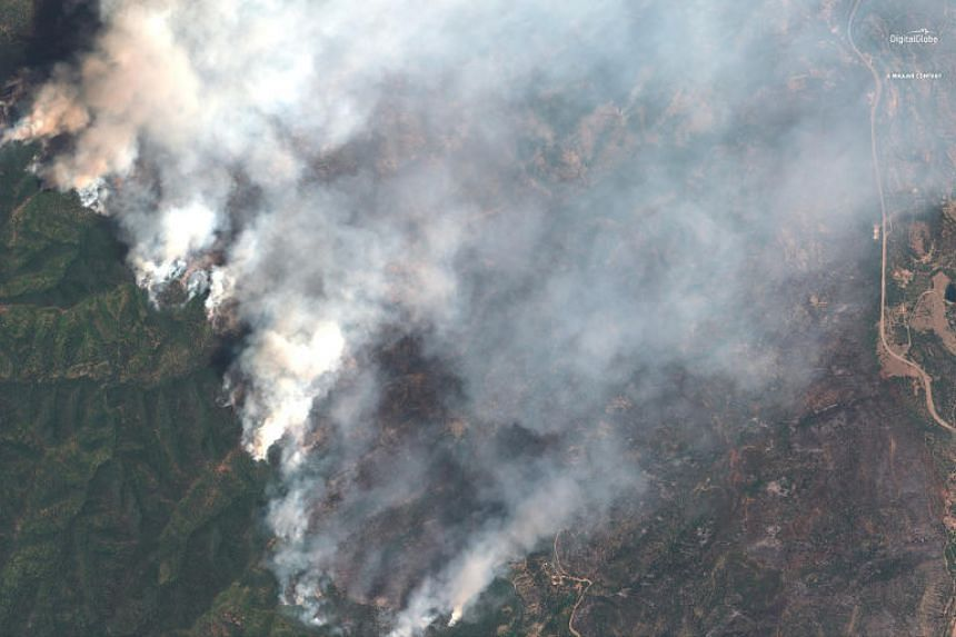 A satellite image showing the 416 Wildfire burning near Hermosa, Colorado, on June 10, 2018.