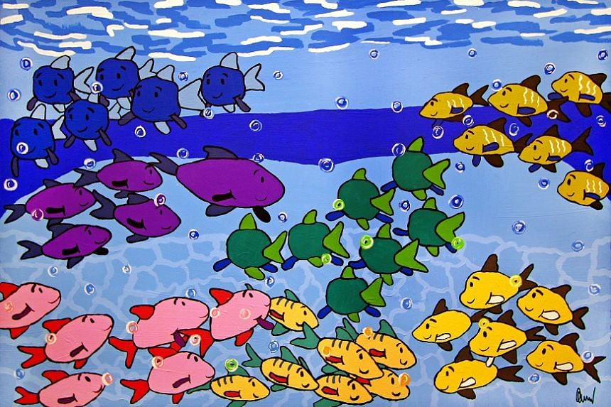 Fish School Swimming Under The Sea by Mr Aaron James Yap.