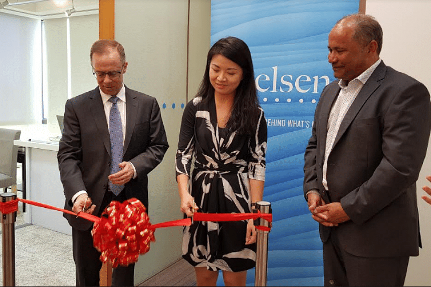 Nielsen CEO Mitch Barns, along with Wen Xu, Director of Lifestyle at EDB, and Pat Dodd, President of Global Markets Group at Nielsen.