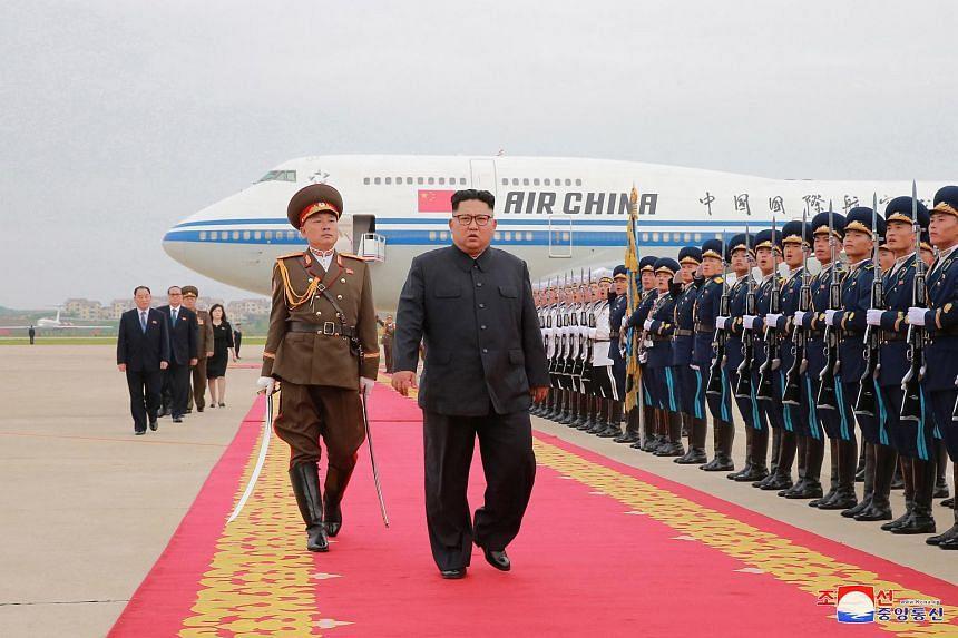 North Korean leader Kim Jong Un inspecting an honour guard after arriving in Pyongyang, North Korea, on June 13, 2018.
