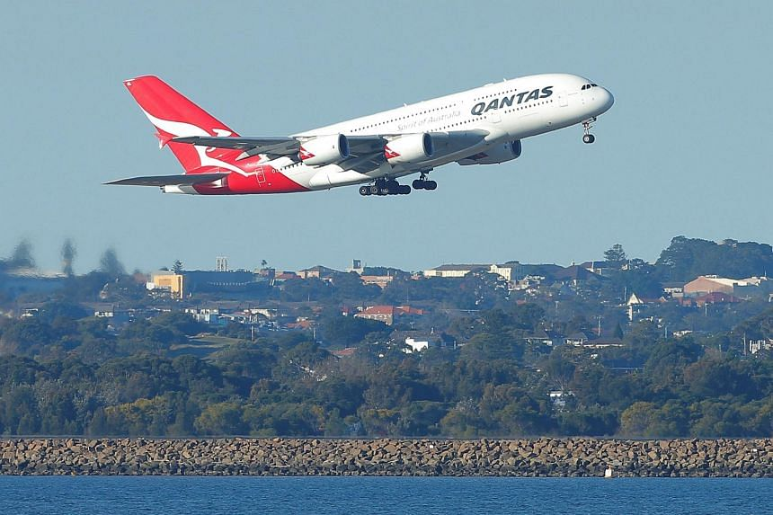 File photo showing a Qantas A380 aircraft taking off from Sydney International Airport in Australia, on Aug 22, 2017.