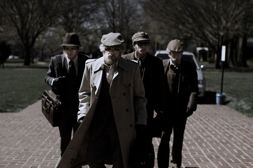 The four robbers in American Animals disguise themselves as old men to carry out the crime.