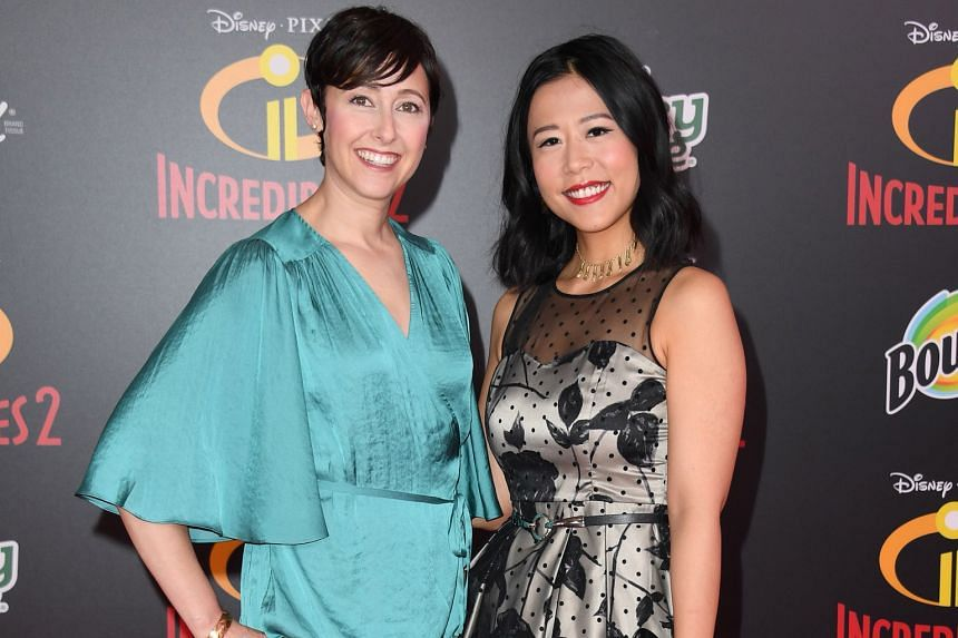 The short film Bao, by writer-director Domee Shi (right), is about food and family. With her is producer Becky Neiman-Cobb.