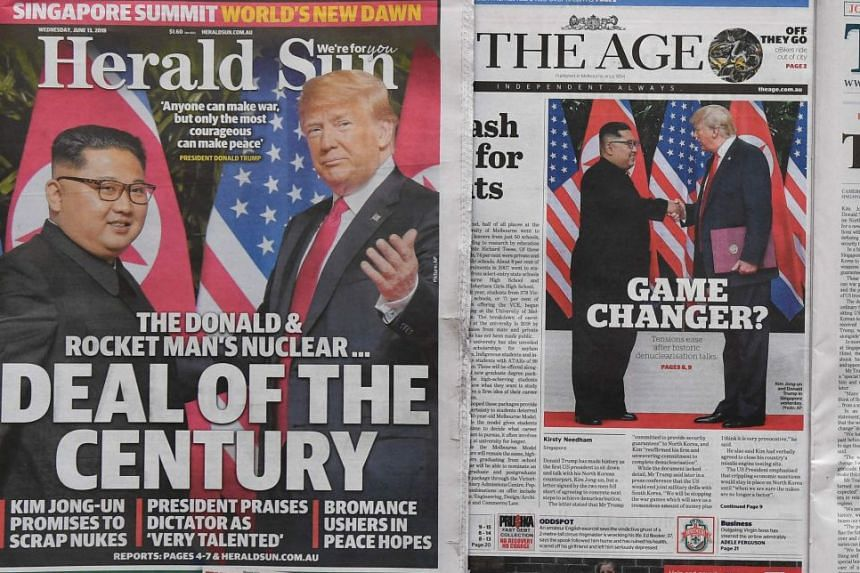 The historic summit dominated the front pages of newspapers around the world, including those in China, Japan and Australia (above).