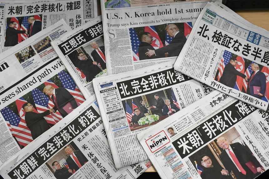 The historic summit dominated the front pages of newspapers around the world, including those in China, Japan (above) and Australia.