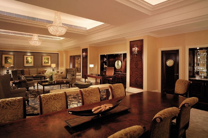 The Shangri-La Suite, where Mr Donald Trump stayed, has its own lift and private entrance, and a dedicated butler service. The 348 sq m suite includes a private workout room, study, living room, dining room and kitchen.