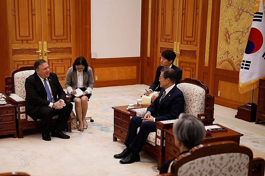 US Secretary of State Mike Pompeo at a bilateral meeting with South Korean President Moon Jae In at the presidential Blue House in Seoul yesterday.