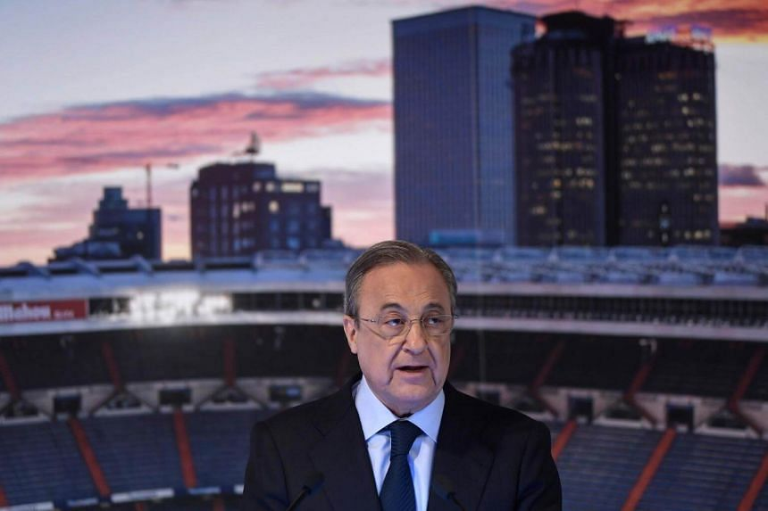 Real Madrid's president Florentino Perez gives a speech during the official presentation of Real Madrid´s newly appointed coach Julen Lopetegui at the Santiago Bernabeu stadium in Madrid, on June 14, 2018