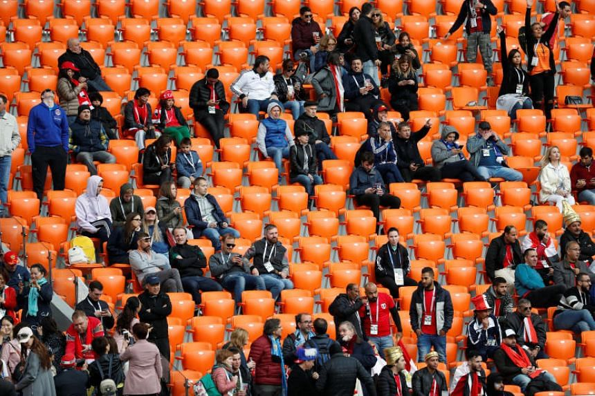 A general view of empty seats in the stands around Egypt fans in the Ekaterinburg Arena on June 15, 2018.